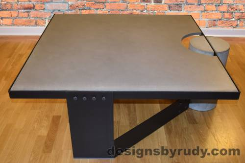 Black Concrete Coffee Table, Black Steel Frame, Designs by Rudy