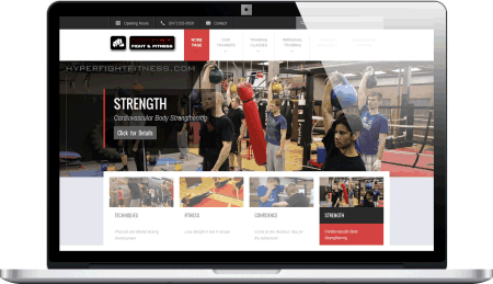 Hyper Fight and Fitness Club WordPress responsive website design by DesignsByRudy.com