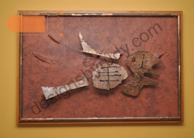 Abstract composition - sheet metal bird on canvas (front view) by Designs by Rudy