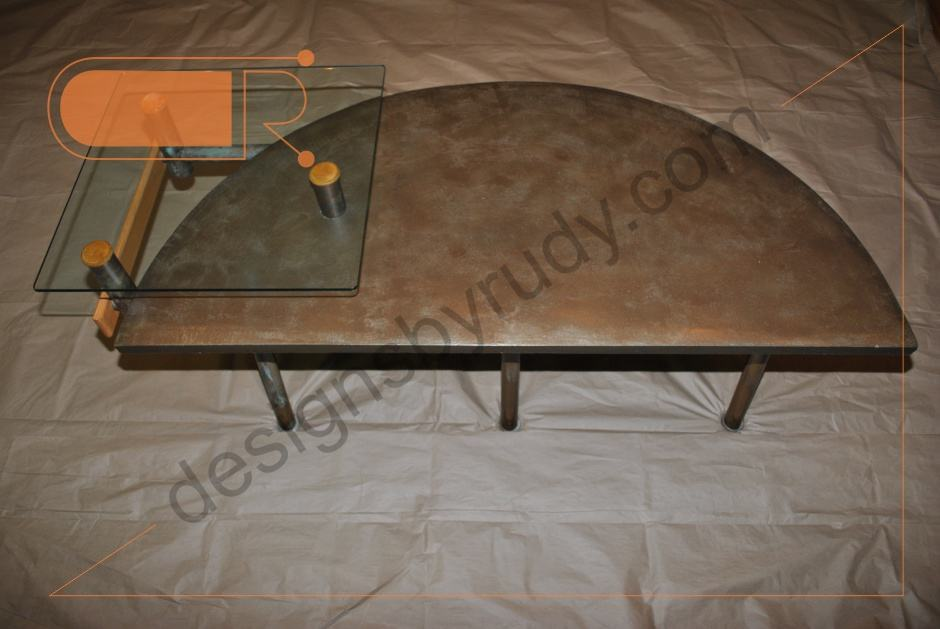Custom Coffee Table | Concrete Glass Tops | Copper Tubing Legs