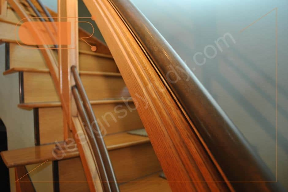 Curved Oak Stairs With Copper Railing and Trim - Designs by Rudy