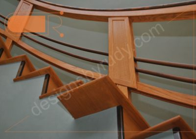 Red oak stairs with copper railing - side view 3