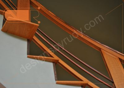Red oak stairs with copper railing - side view 4