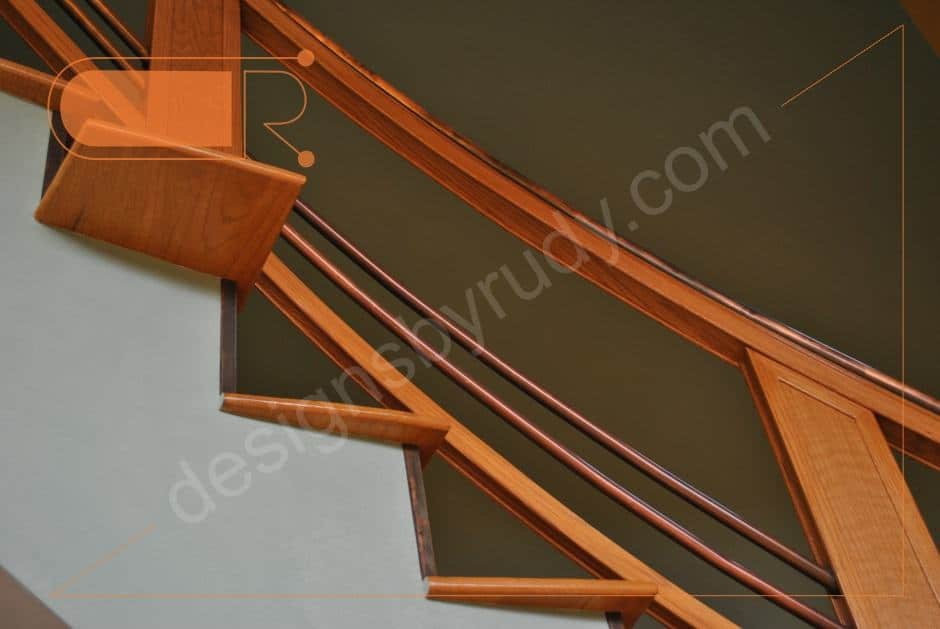 Curved Oak Stairs With Copper Railing And Trim Designs