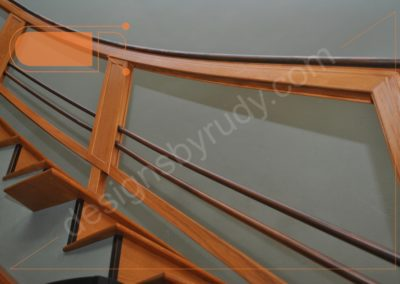 Red oak stairs with copper railing - side view 5