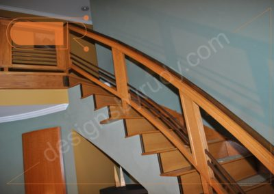 Red oak stairs with copper railing - upper section