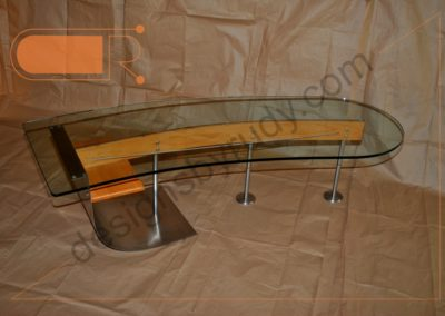 Unique coffee table made of stainless steel, wood, and glass in full right view, Designs by Rudy