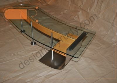 Unique coffee table made of stainless steel, wood, and glass, left-rear view, Designs by Rudy