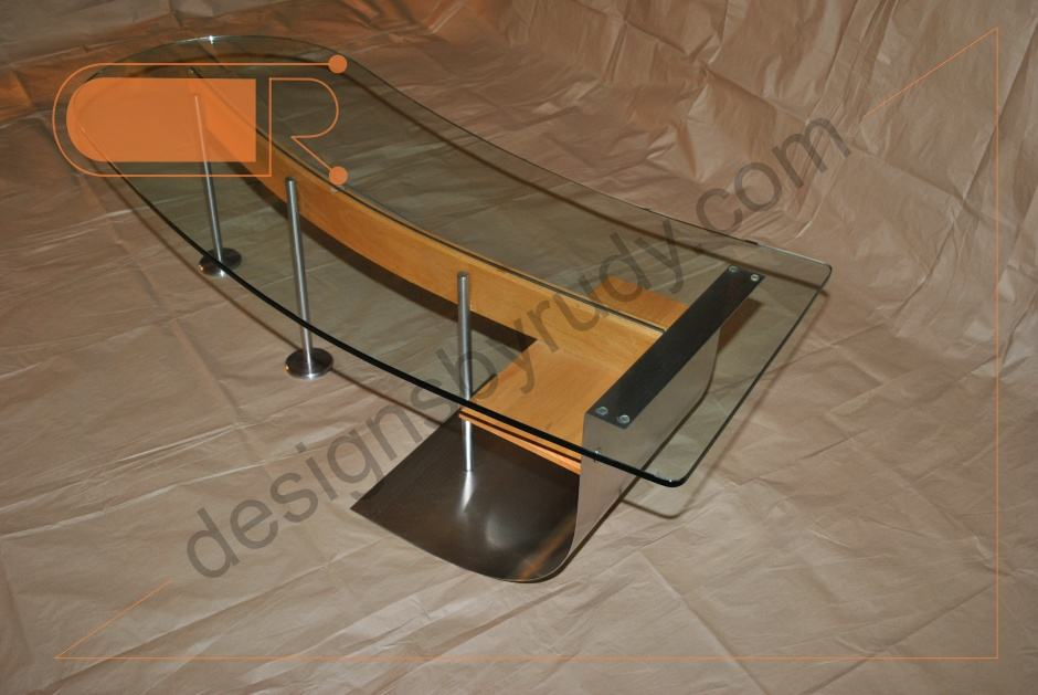 Jelly bean coffee table glass top stainless steel and for Metal frame glass coffee table