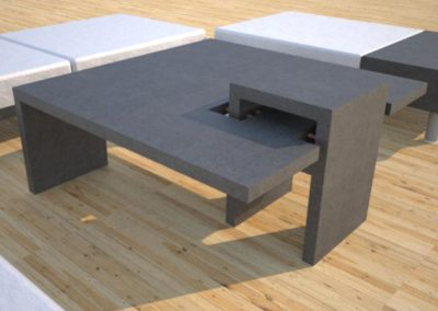 DR3 Chain Link Concrete Coffee Table Series | Open Bottom Link