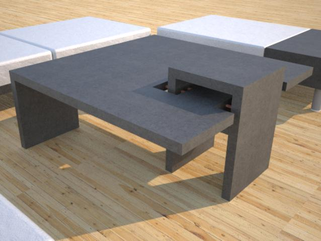 Dr3 Contemporary Concrete Coffee Table Chain Link Series Open Bottom