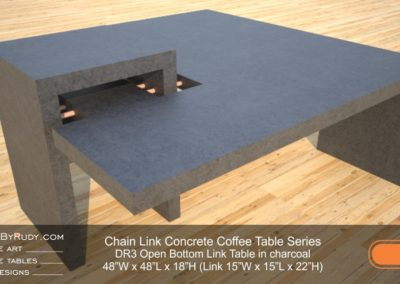 DR3 - Chain Link Contemporary Concrete Coffee Table Series - open bottom link in charcoal