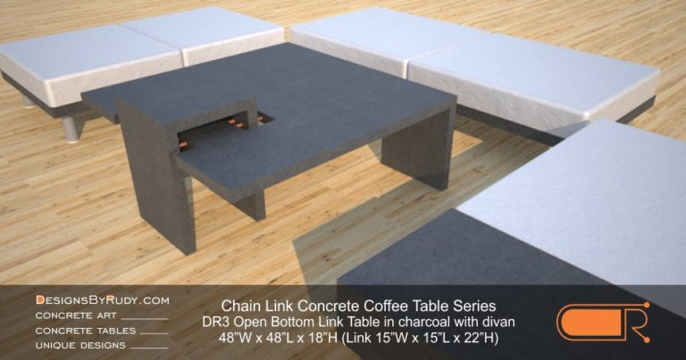 DR3 - Chain Link Contemporary Concrete Coffee Table Series - open bottom link in charcoal with divan