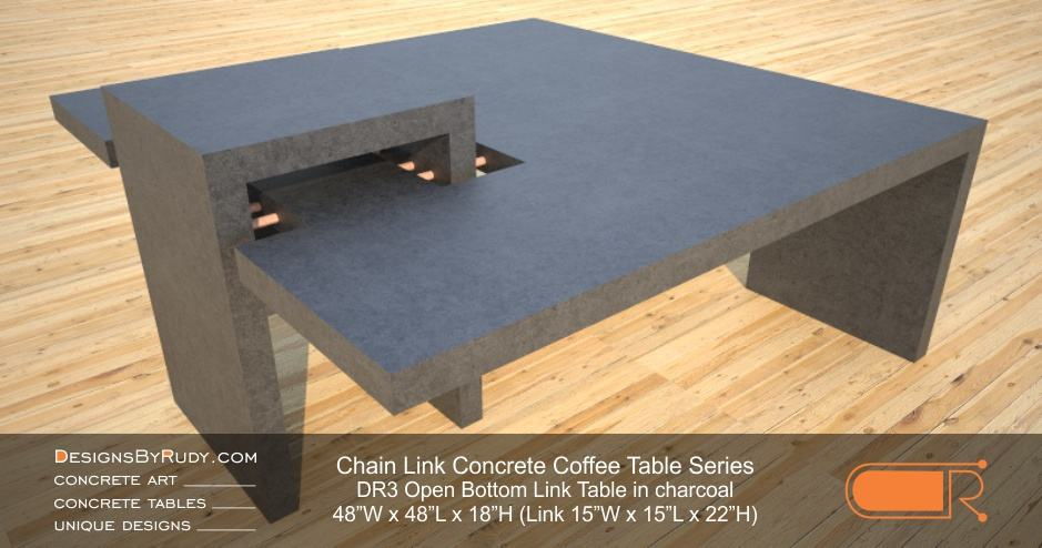 DR3   Chain Link Contemporary Concrete Coffee Table Series   Open Bottom  Link In Charcoal