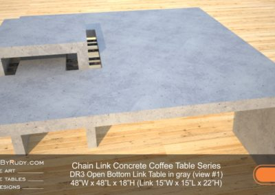 DR3 - Chain Link Contemporary Concrete Coffee Table Series - open bottom link in light gray 1
