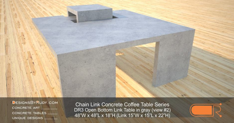 DR3 - Chain Link Contemporary Concrete Coffee Table Series - open bottom link in light gray 2