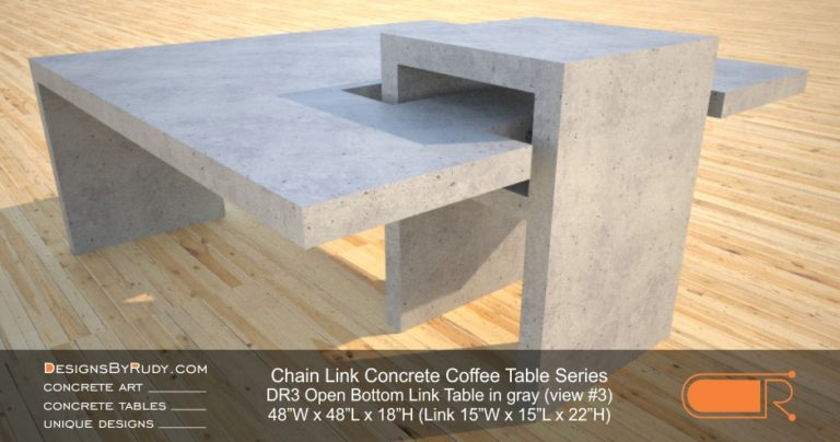 DR3 - Chain Link Contemporary Concrete Coffee Table Series - open bottom link in light gray 3