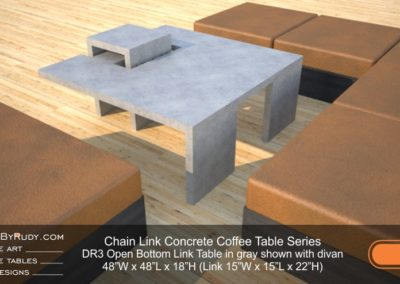 DR3 - Chain Link Contemporary Concrete Coffee Table Series - open bottom link in light gray with divan