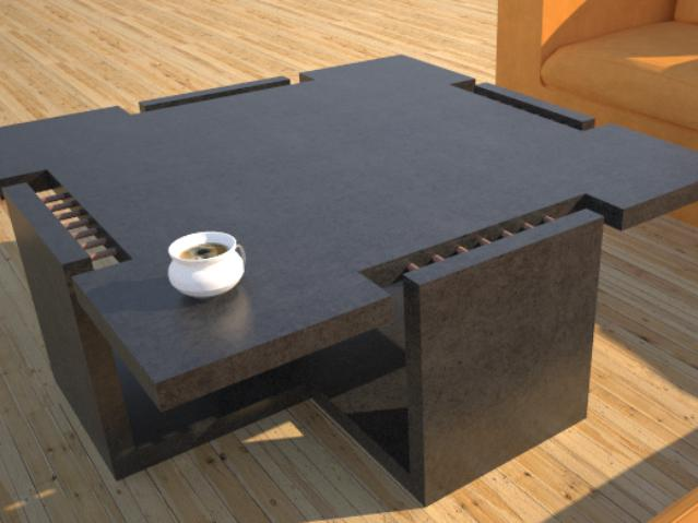 DR12 Chain Link Contemporary Concrete Coffee Table Series | Open Cross