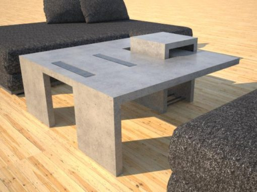 Concrete Coffee Tables | DR5 Chain Link Series | Rebar & Glass