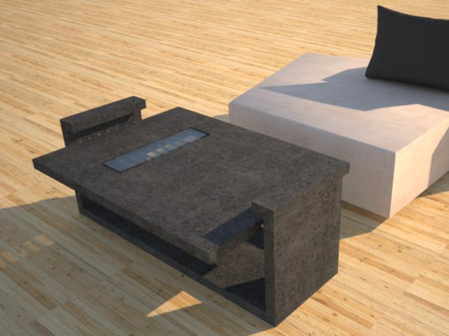 Concrete Tables | DR9 Rectangle Coffee Table | Missing Link with Glass
