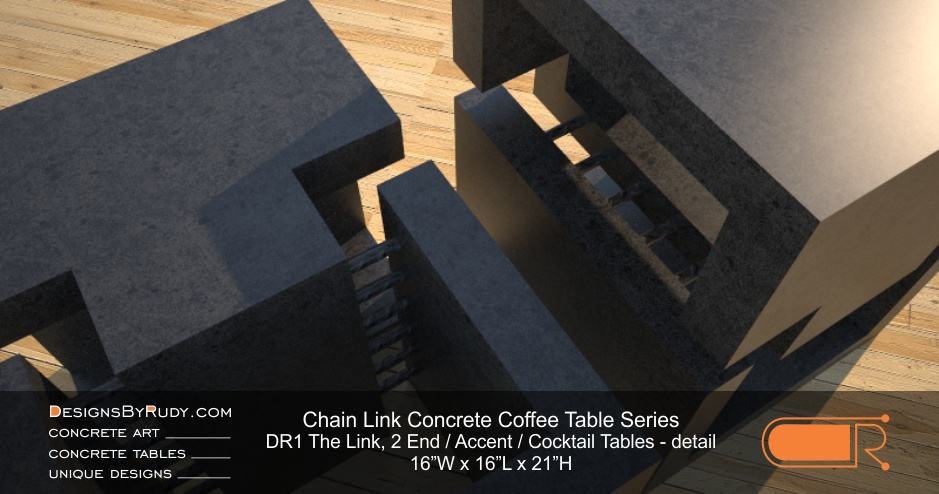DR1 - Chain Link Contemporary Concrete Coffee Table Series - 2 accent tables in charcoal - detail