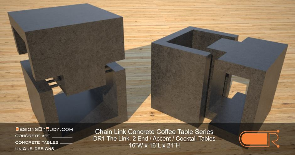 DR1 - Chain Link Contemporary Concrete Coffee Table Series - 2 accent tables in charcoal
