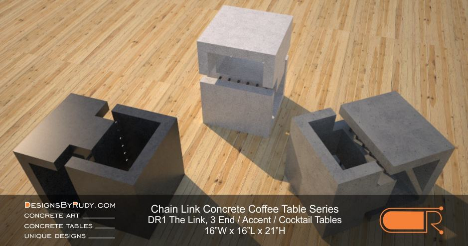 DR1 - Chain Link Contemporary Concrete Coffee Table Series - 3 accent tables in charcoal, white & gray