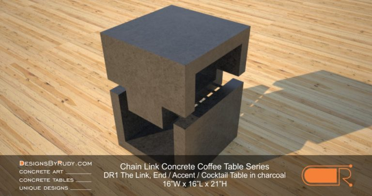DR1 - Chain Link Contemporary Concrete Coffee Table Series - end table cube in charcoal