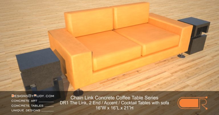 DR1 - Chain Link Contemporary Concrete Coffee Table Series - end table cube in charcoal with orange sofa