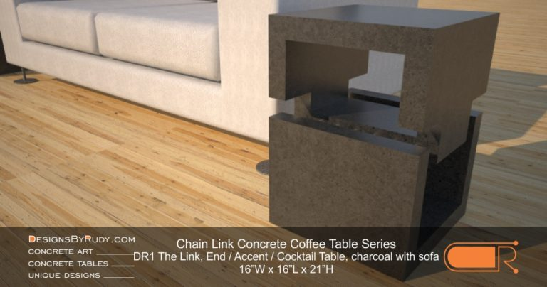 DR1 - Chain Link Contemporary Concrete Coffee Table Series - end table cube in charcoal with white sofa (left)