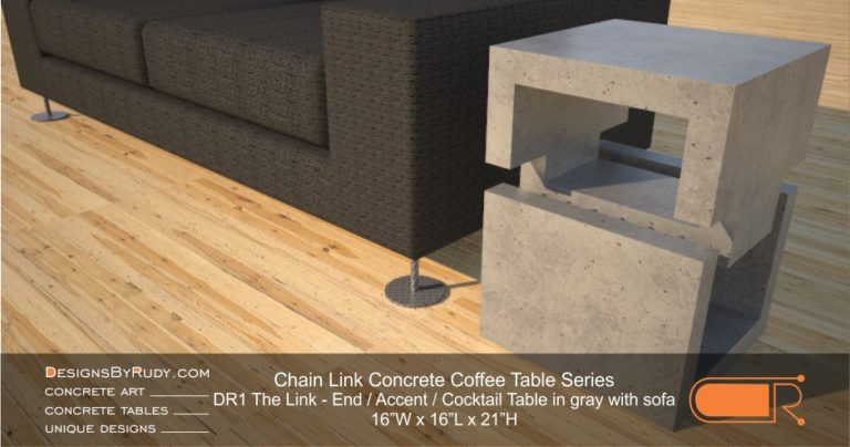 DR1 - Chain Link Contemporary Concrete Coffee Table Series - end table cube in light gray with black sofa