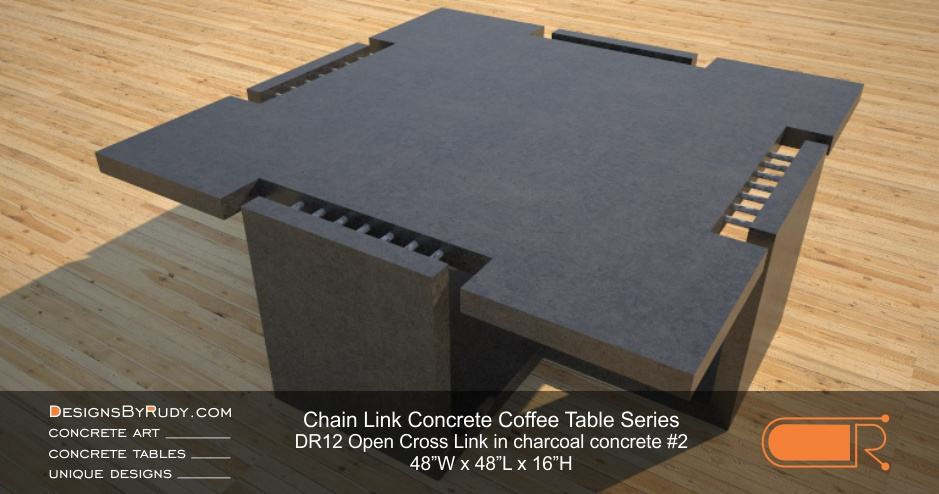DR12 - Chain Link Contemporary Concrete Coffee Table Series - Open Cross Link in charcoal color #2