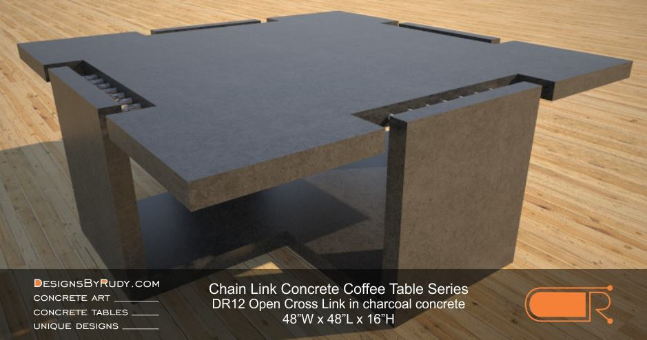 DR12 - Chain Link Contemporary Concrete Coffee Table Series - Open Cross Link in charcoal color