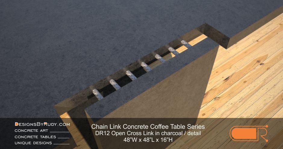 DR12 - Chain Link Contemporary Concrete Coffee Table Series - Open Cross Link in charcoal detail