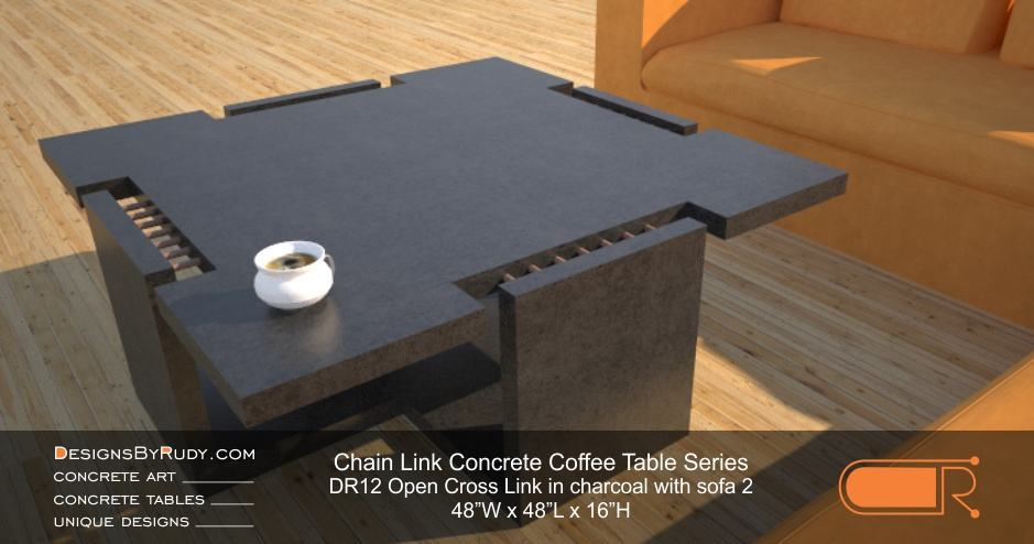 DR12 - Chain Link Contemporary Concrete Coffee Table Series - Open Cross Link in charcoal with sofa