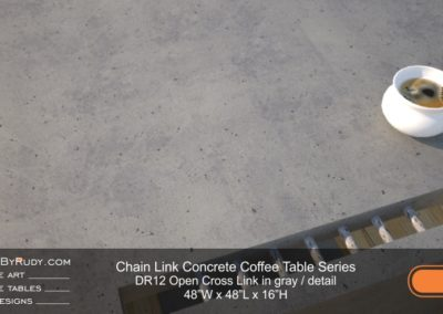 DR12 - Chain Link Contemporary Concrete Coffee Table Series - Open Cross Link in gray - detail