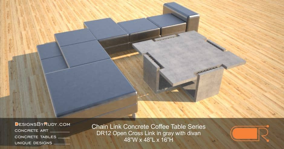 DR12 - Chain Link Contemporary Concrete Coffee Table Series - Open Cross Link in light gray with divan