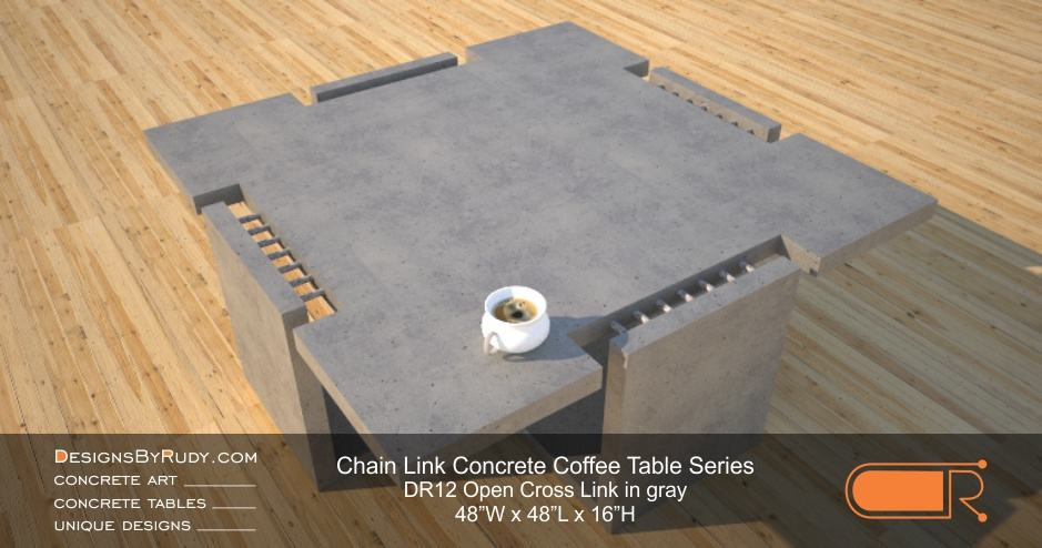 DR12 - Chain Link Contemporary Concrete Coffee Table Series - Open Cross Link in light gray