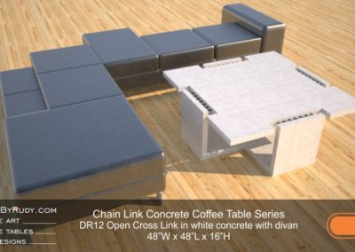 DR12 - Chain Link Contemporary Concrete Coffee Table Series - Open Cross Link in white concrete with divan