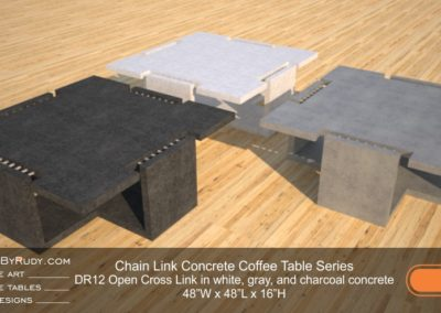 DR12 - Chain Link Contemporary Concrete Coffee Table Series - Open Cross Link in white, gray, and charcoal concrete