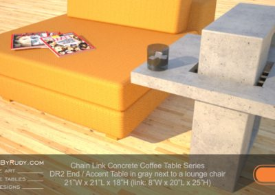 DR2 - Chain Link Contemporary Concrete Coffee Table Series - End Table in light gray next to a lounge chair