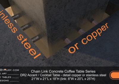 DR2 - Chain Link Contemporary Concrete Coffee Table Series - end, accent table in charcoal - detail, copper