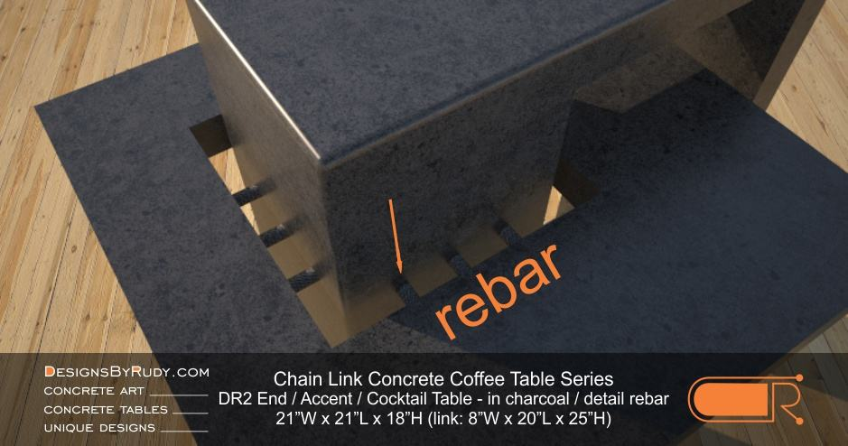 DR2 - Chain Link Contemporary Concrete Coffee Table Series - end, accent table in charcoal - detail, steel bars
