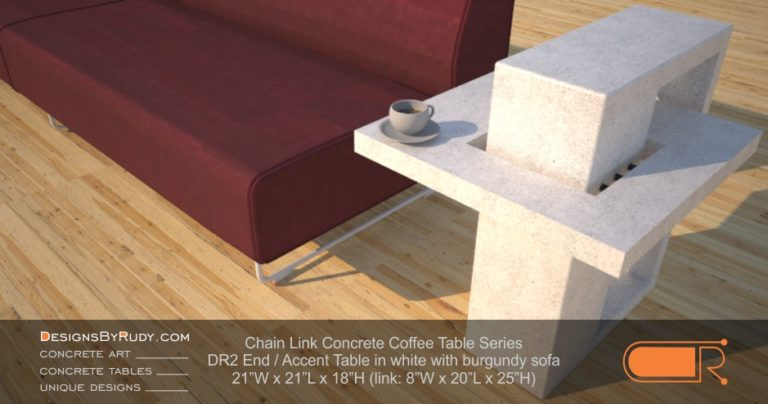 DR2 - Chain Link Contemporary Concrete Coffee Table Series - end, accent table in white with burgundy sofa