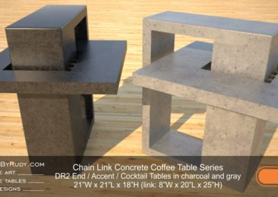DR2 - Chain Link Contemporary Concrete Coffee Table Series - end, accent tables in charcoal and gray