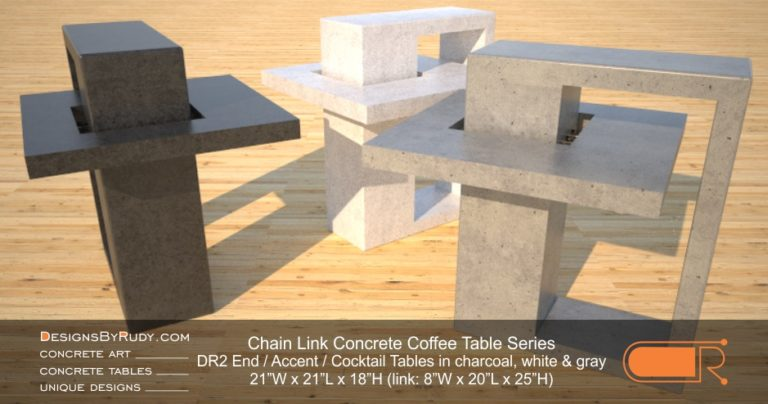 DR2 - Chain Link Contemporary Concrete Coffee Table Series - end, accent tables in charcoal, white, and gray