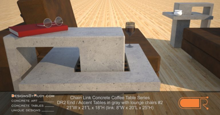 DR2 - Chain Link Contemporary Concrete Coffee Table Series - end, accent tables in gray with lounge chairs #2