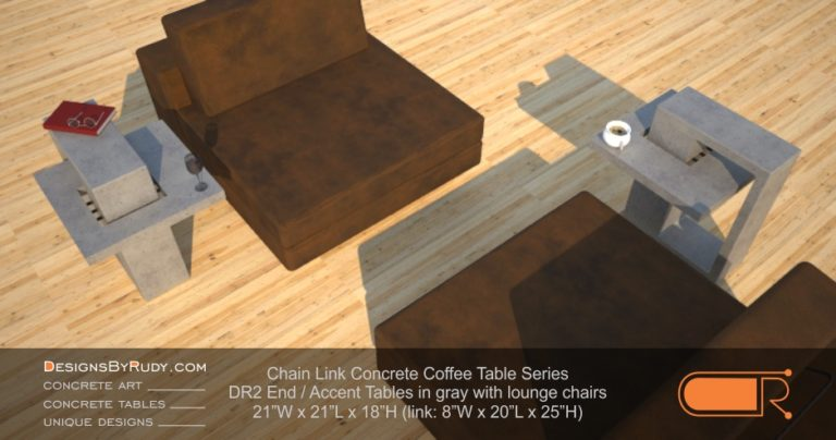 DR2 - Chain Link Contemporary Concrete Coffee Table Series - end, accent tables in gray with lounge chairs