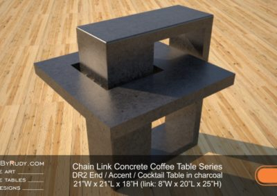 DR2 - Chain Link Contemporary Concrete Coffee Table Series - end table in charcoal